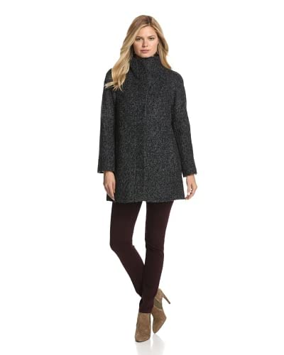 Anne Klein Women's Single-Breasted Coat  [Black/Charcoal]