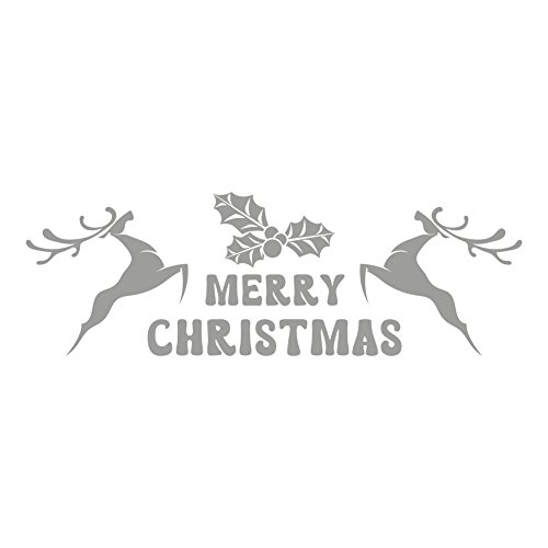 wandaufkleber merry christmas deer ornaments christmas decoration silver. Black Bedroom Furniture Sets. Home Design Ideas