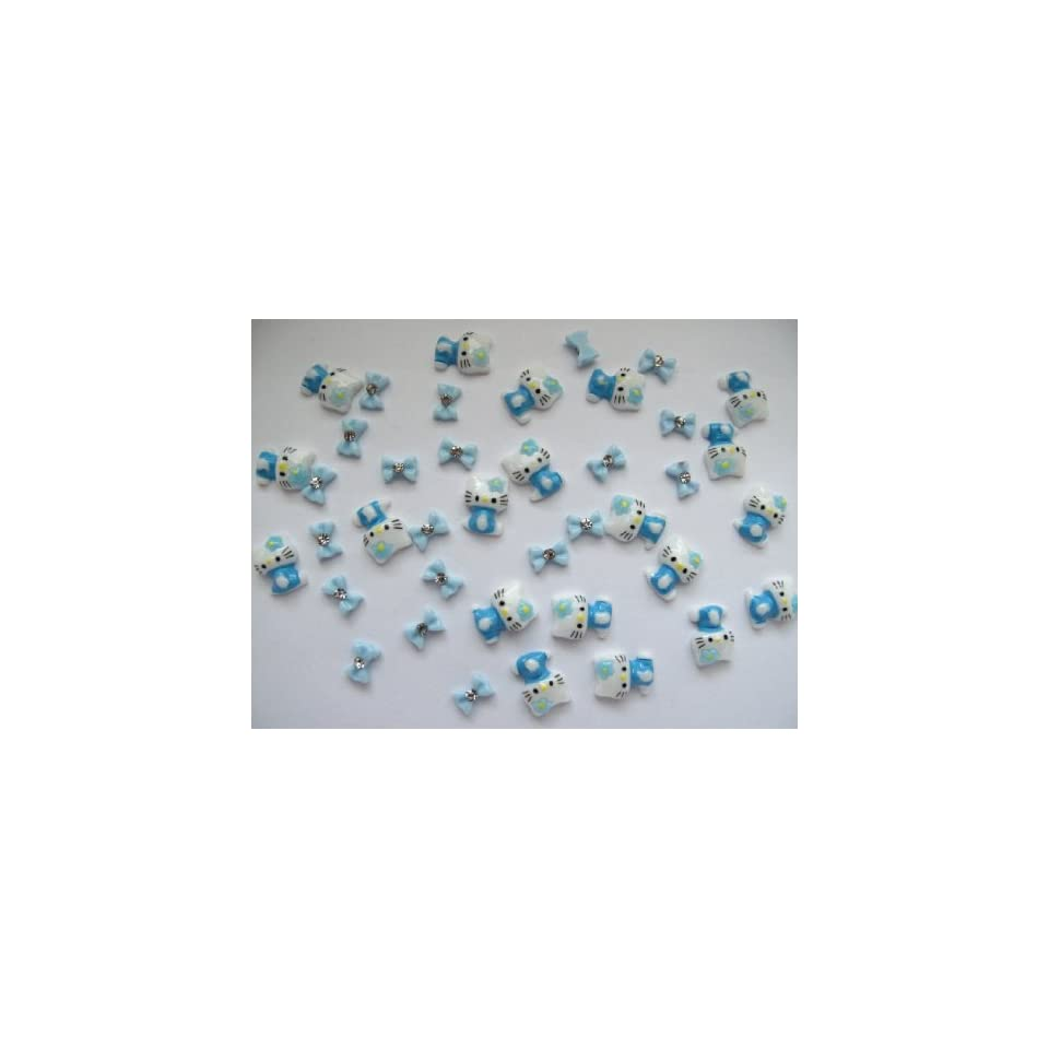 Nail Art 3d 40 Pieces Mix Blue Hello Kitty/Bow for Nails, Cellphones 1.3cm*.9cm