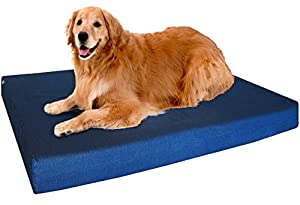 Premium Extra Large Heavy Duty Orthopedic Memory Foam Pet Dog Bed with Waterproof Washable Denim Cover + Free Extra Replacement Case