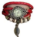 Rouge Feuille Montre - Bracelet cuir - Weave Wrap Around- Quartz Mode Rétro - Montre de femmes de dames + Gratuit Poche Caisse