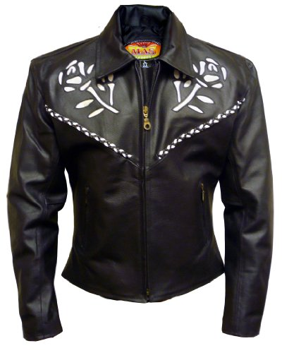 Womens Black Leather Motorcycle Jacket with Rose Insets and Braided Accents - Leatherbull (Free U.S. Shipping) (M)