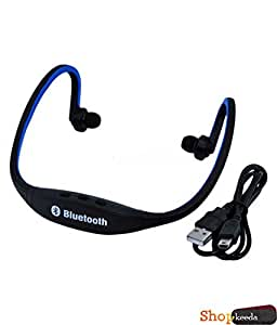 Micromax A30 Smarty 3.0 COMPATIBLE BS19 Wireless Bluetooth On-ear Sports Headset Headphones (with Micro Sd Card Slot and FM Radio) BLUE