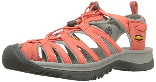 KEEN Women's Whisper Sandal, Hot Coral/Neutral Gray, 8.5 M US