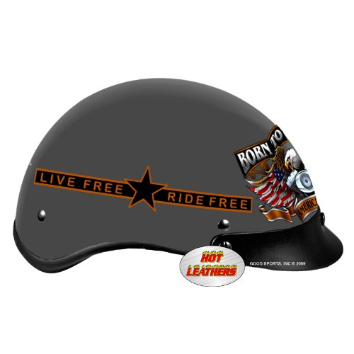 Hot Leathers DOT Approved Born Free Eagle Helmet (Black, XX-Large)