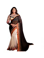 Sri Krishna Silks' Black & Cream Embroidered Saree - B00NUVLOEW