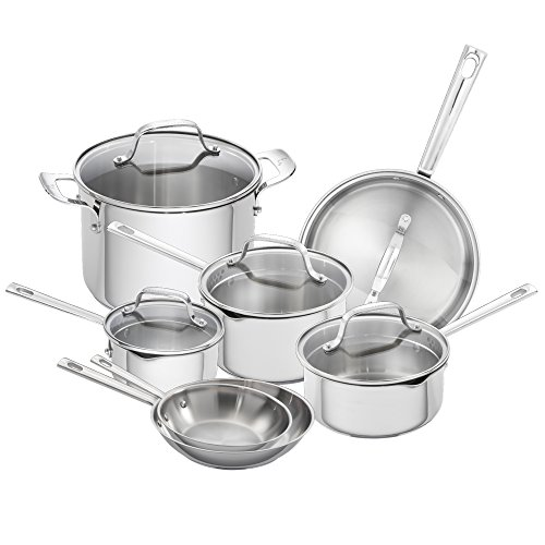 Emeril Lagasse 62950 12 Piece Stainless Steel Cookware Set, Assorted, Silver