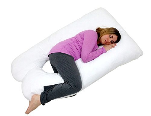 U Shaped-Premium Contoured Body Pregnancy Maternity Pillow with Zippered Cover - White - 1