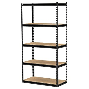 Gorilla Rack GRZ6-3618-5BPCB 36 by 18 by 72-Inch Shelving Unit with 5-shelf, Black