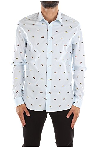 Camicie Kenzo Uomo Cotone Celeste e Multicolore F565CH2001KGT41B52 Celeste 43 Slim Fit