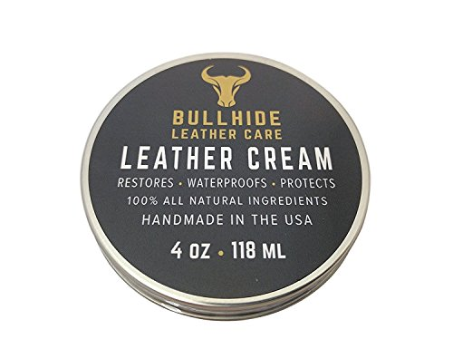 Bullhide Leather Cream 4 oz // All Natural & Handmade in the USA // Condition, Protect & Waterproof your leather furniture, shoes, belts, bags, boots, jackets, saddles, motorcycle leathers and more! (Leather Conditioner Natural compare prices)