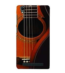 PrintVisa Music Guitar Strings 3D Hard Polycarbonate Designer Back Case Cover for Intex Aqua Power Plus
