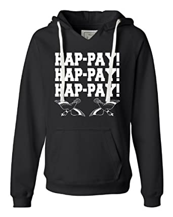 Small Black Womens Hap-pay Hap-pay Hap-pay Happy Happy Happy Duck Dynasty Duck Hunting Deluxe Soft Fashion Hooded Sweatshirt Hoodie