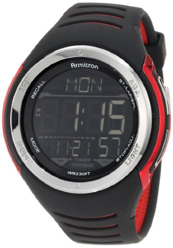 Armitron Men's 50mm Black Polyurethane Band Plastic Case Quartz Digital Watch 40/8250RED