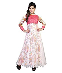 My online Shoppy Women's Net Semi Stitched Dress Material (My online Shoppy_129_Pink_Free Size)