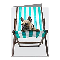 CafePress French Bulldog relaxing in a Note Cards Pk of 10 - Standard Multi-color Glossy by CafePress
