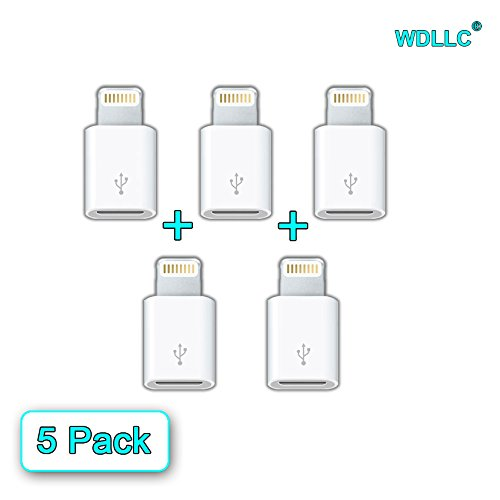 Adapter Converter Micro USB 5 Pin to 8 Pin iPhone 6 / 6 Plus / 6S / 6S / iPad / iPod Charge and Sync (5 Pack) - WDLLC (Iphone 6 Micro Usb Adapter compare prices)