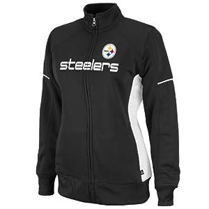 Women's Pittsburgh Steelers Counter Long Sleeve Mockneck Full-Zip Track Jacket by Majestic