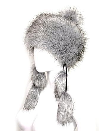 Faux Fox Fur Winter Mongolian Hat Women Trapper Russian Style Hat Cossack Pompom (Silver)