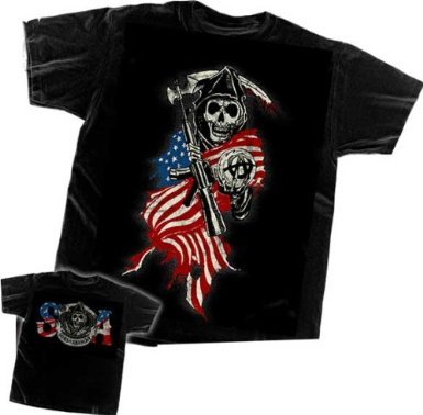 Sons Of Anarchy Reaper USA Flag T-shirt (Medium, Black)