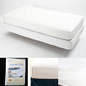Twin Size Fitted Mattress Cover Vinyl Waterproof Bed Bug Allergy Protector New ! from ATB