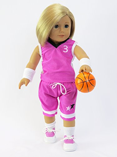 18 Inch Doll Clothes - 7pc Purple Basketball Player Outfit American Girl Dolls, Top, Shorts, Socks, Shoes, Wrist Bands, Hair Ties And Basketball Are Included, Sporty Fashion *DOLL IS NOT (Native Indian Makeup)