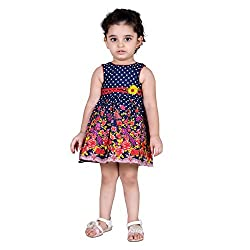 NAVEENS Navy Blue Cotton Round Neck Party wear Dress for Girls