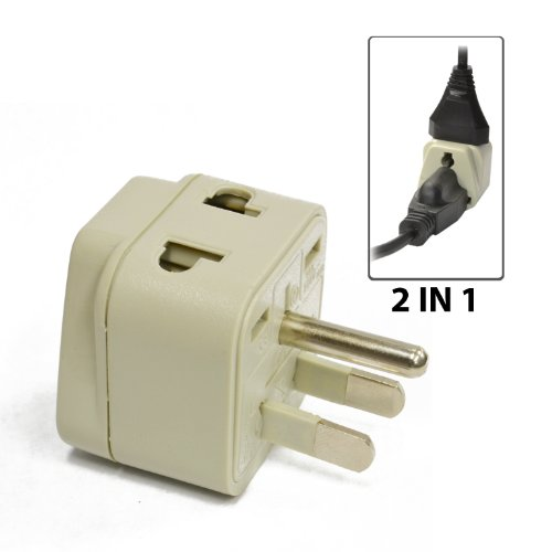 Orei Grounded Universal 2 In 1 Plug Adapter Type B For Usa, Japan & More - High Quality - Ce Certified - Rohs Compliant Wp-B-Gn