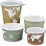 8 oz. Compostable Soup Cup Bowls - World Art (50 Cups) - AB-310-4-170