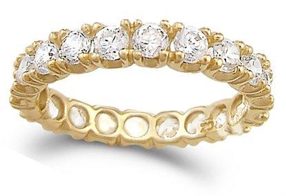 CZ Eternity Wedding Ring 14k Yellow Gold Anniversary Band (1.50 Carat), Size 6