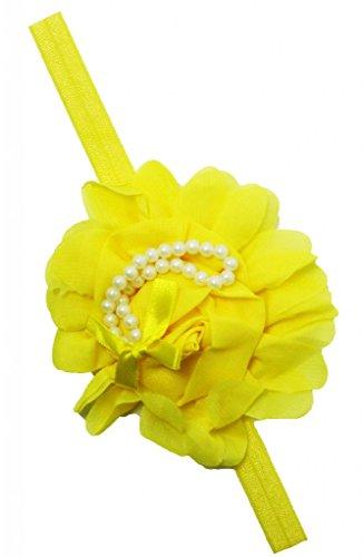 Wholesale Princess Chiffon Rosette With Pearls And Foe Elastic Headband-Yellow front-109077