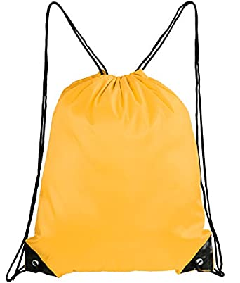 Mato & Hash Basic Drawstring Tote Cinch Sack Promotional Backpack Bag Athletic Gold