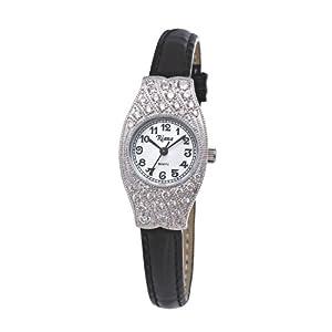 Ladies Watch Swarovski Crystals Watch Black Leather Strap Small Face Petite - Riana RCW0059