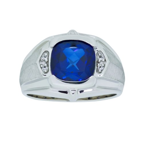 Sterling Silver Created Blue and White Sapphire Gents Ring