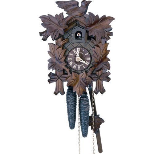 Schneider 9 Inch Five Leaves and One Bird Black Forest Cuckoo Clock