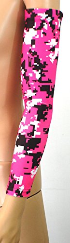 Nexxgen Sports Apparel Moisture Wicking Compression Arm Sleeve (Single) - Men, Women, Adult & Youth - 40 Colors – Digital Camo & Elite (Large, Pink/Black/White)