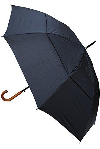 "COLLAR AND CUFFS LONDON - Stockschirm - EXTRA STARK - ""StormDefender City"" - Ventilationsbezug - Schadenfest gegen Überschlagschaden - Automatik - Holzgriff - Fiberglas Regenschirm - Schwarz"