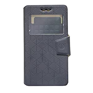 Jo Jo Toto Series Leather Pouch Flip Case With Silicon Holder For ZTE Q519T  Black