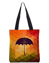 Snoogg Retro Umbrella Symbol On Hipster Background Made Of Triangles Retro Backgro Designer Poly Canvas Tote Bag
