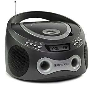 Riptunes CD MP3 Radio Stereo Boombox with Display and Aux-In Port for All MP3 Players (Metallic Grey)