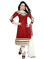 Kunish Brown Embroidered Cotton Women's Dress Material 1002