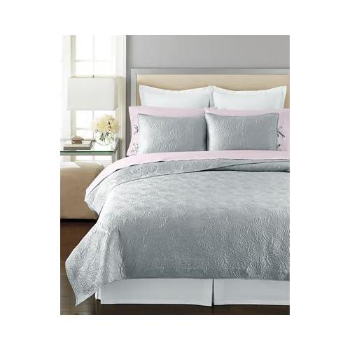 Amazon.com - Martha Stewart Carved Dahlia Twin Quilt Silver Grey