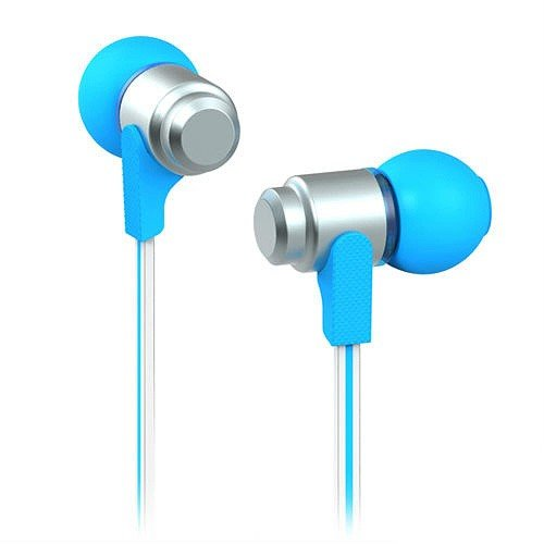 Jujeo Wallytech Wea-116 Flat 3.5Mm In-Ear Earphone Headphone For Iphone, Ipad, Ipod, Samsung, Lg And Htc - Silver/Blue - Non-Retail Packaging
