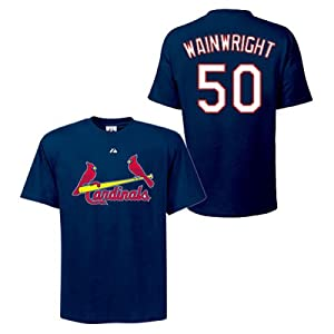 Adam Wainwright St Louis Cardinals Navy Player T-Shirt by Majestic by Majestic