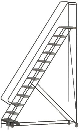 Tri-Arc WLAR112244 12-Step All-Welded Aluminum Rolling Industrial & Warehouse Ladder with Handrail, Ribbed Tread