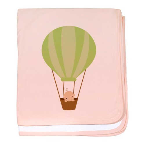 Cafepress Baby In A Hot Air Balloon Baby Blanket - Standard Petal Pink front-976928