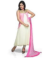 Utsav Fashion Women's Off White Faux Georgette Readymade Kameez Cum Jacket With Legging-X-Small
