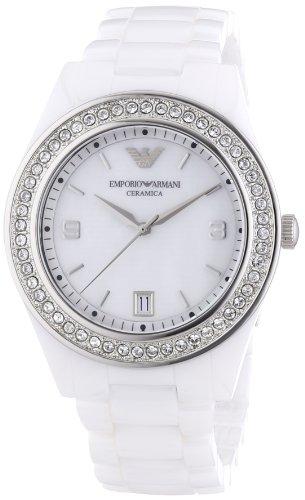 Emporio Armani AR1426 - Reloj analógico de cuarzo para mujer, correa de cerámica color blanco