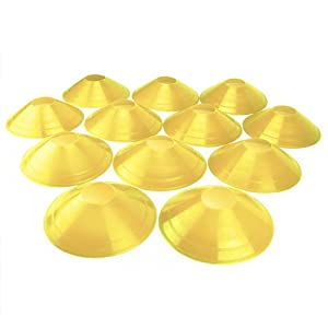 Set of 12 Field Disc Cones made from soft plastic by Crown Sporting Goods (Yellow)