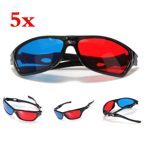 TOOGOO(R) 5x Red and Blue Anaglyph Dimensional 3D VISION Glasses For TV Movie Game DVD